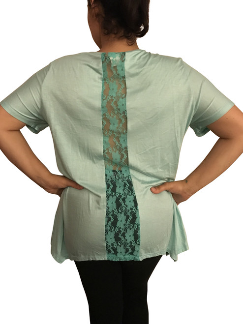 Plus Size White Top with Mint Lace Accent in Back!