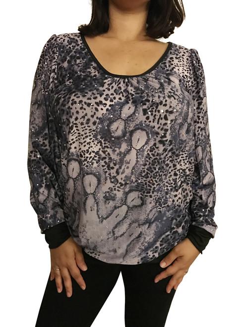 Plus Size Top is Purple Animal Print with Stones!