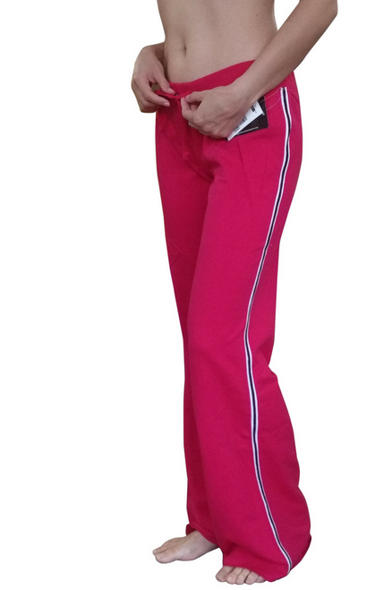 Pink Cotton Sweatpants / Joggers with Pinstripe Sides.