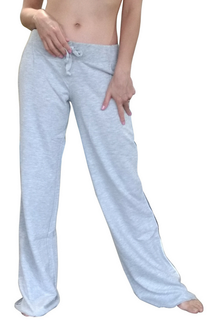 Heather Grey Cotton Sweatpants / Joggers with Pinstripe Sides.