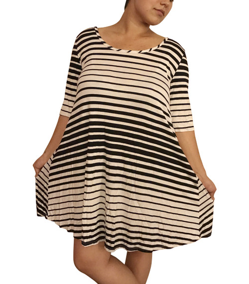 PLUS SIZE Dress is 96% Rayon! White with Black Gradient Stripes.