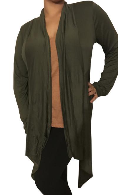 PLUS SIZE Flyaway Cardigan! Color: Army Green.