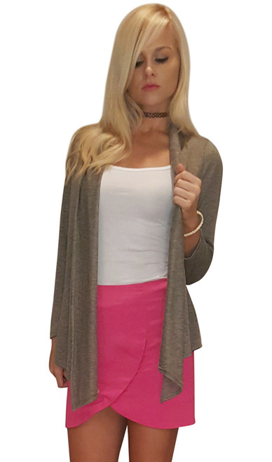92% Rayon Flyaway Cardigan! Open Front. Color: Olive, Sand.