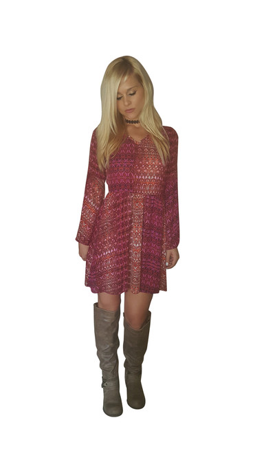 Aztec Pattern Boho Shift Dress with Purple with Touches of Orange.