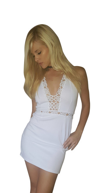 Solid White Crochet Mini Dress with Halter Top!