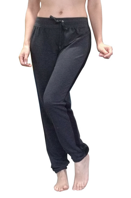 Tapered Leg Charcoal Joggers With Black Side Panel Legs!