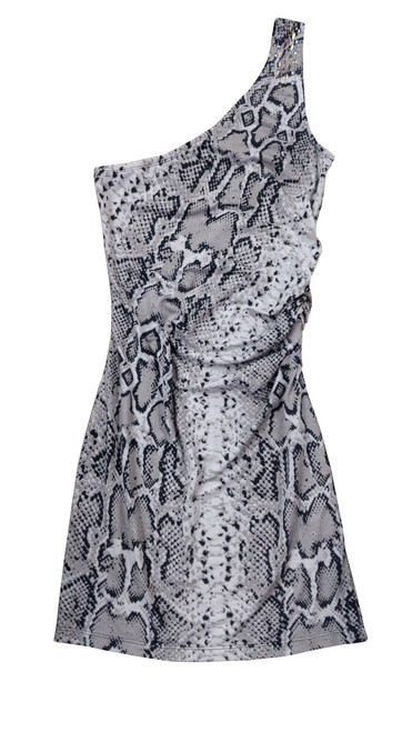 Snake Print Off-the-Shoulder Bodycon Dress with Studs.