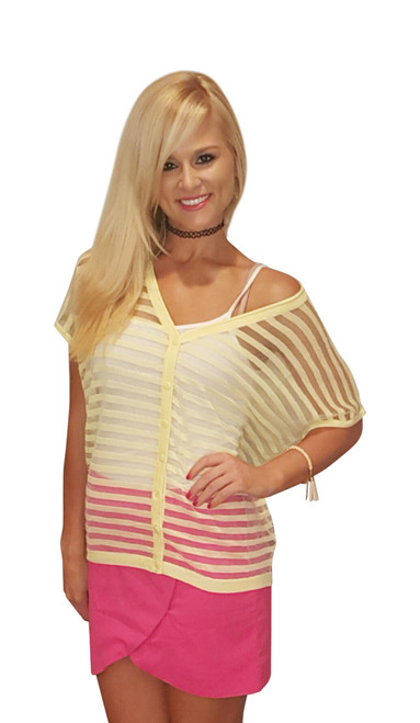 Sheer Yellow Short Sleeve Cardigan from Miracle City Apparel!