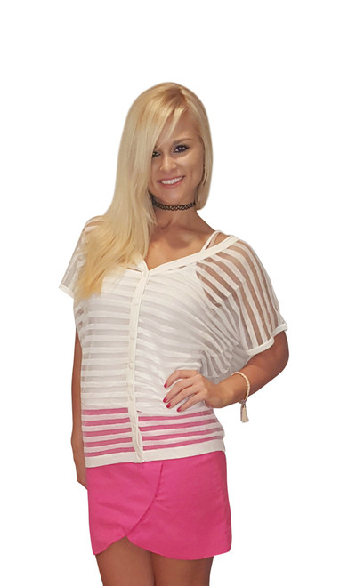Sheer White Short Sleeve Cardigan from Miracle City Apparel!