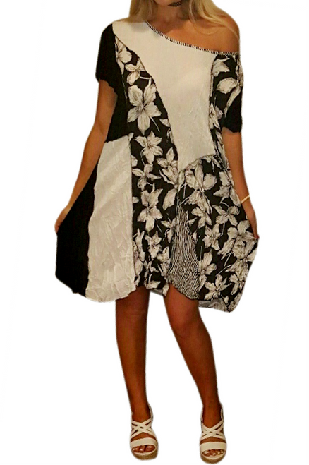 Boho Floral Dress is Cotton & Asymmetrical. One Size Fits Most.