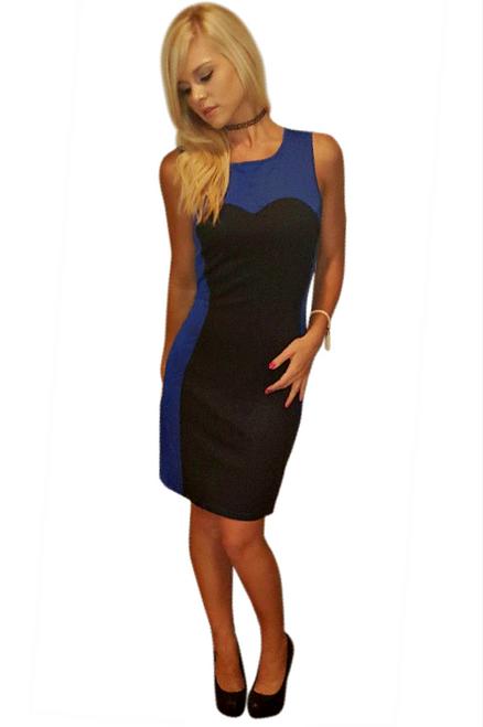 Black & Blue Bodycon Dress with Sweetheart Neckline!