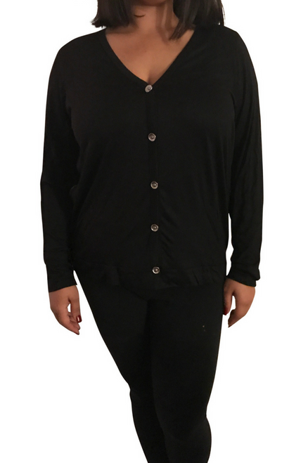 Plus Size Top with Buttons is Black with Blue Back.  **Size: 3XL