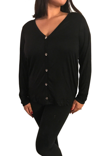 Plus Size Top with Buttons is Black with Tan Back.  **Size XL
