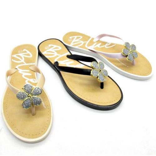 Sandal with 'Flower' Stones! Black. Wooblio Fleur.