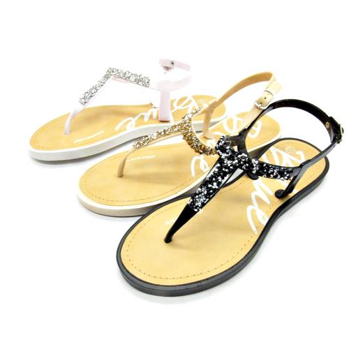 Sandal with 'PopRock' Stones! White.