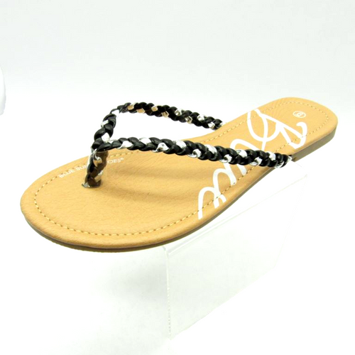 Sandal with Black and Silver Braided Strap!