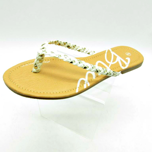 Sandal with White and Silver Braided Strap!