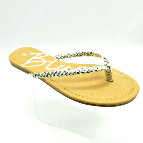 Sandal with Silver Braided Strap! Silver.