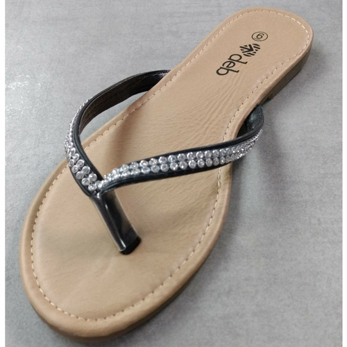Sandal with Black Stone Encrusted Straps!
