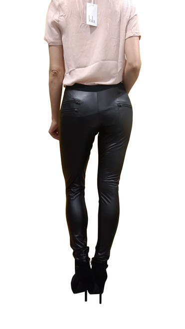 Boutique Black Stretch Pants With Faux Leather Back!