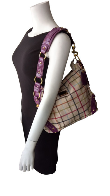 Beige and Purple Plaid. High Quality, Long Strap Large Purse.
