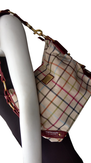 Beige and Red Plaid. High Quality, Long Strap Large Purse.