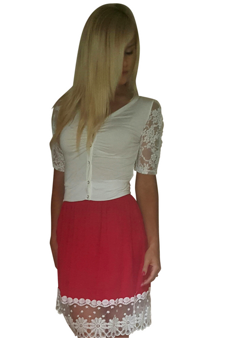 Spring Weight Cardigan with Lace Sleeves! White.