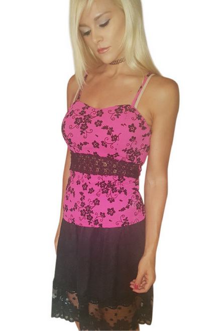Fuchsia Peplum Top with Black Lace Accents!