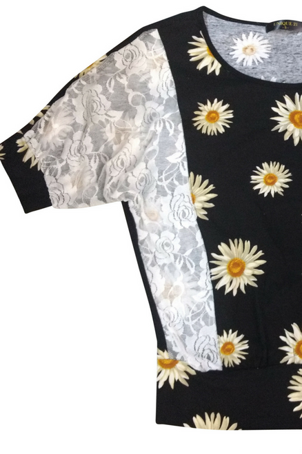 Black Top with Yellow SunFlowers and White Lace Sleeves!