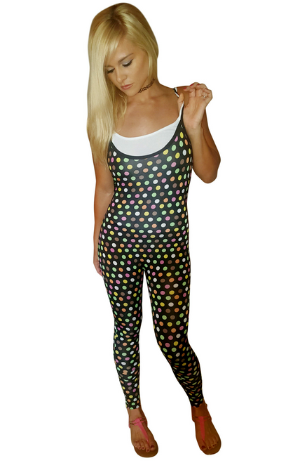 Full Length Jumpsuit! Black with Multicolor Polka Dots.