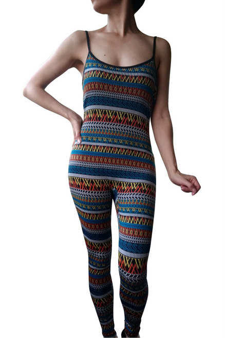 Full Length Jumpsuit! Blue & Yellow Tribal Pattern.