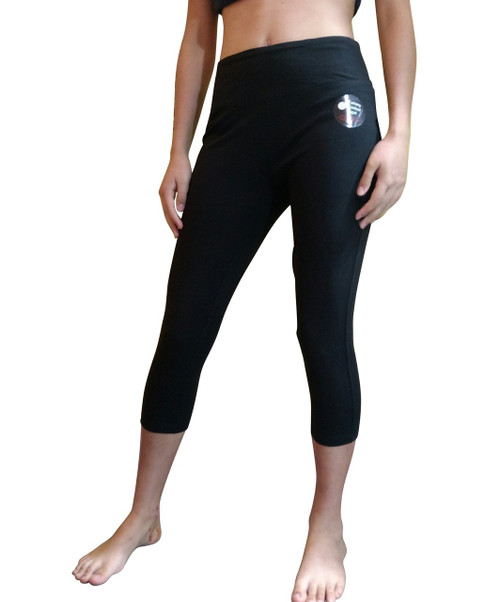 Tummy Control Skinny Yoga Capris from Objet d'Art! Solid Black.
