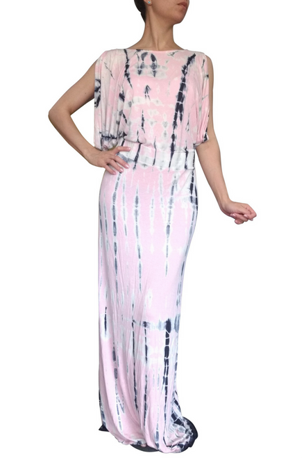 Pink Rayon Maxi Dress with Navy Tie Dye & Cutout Shoulders.