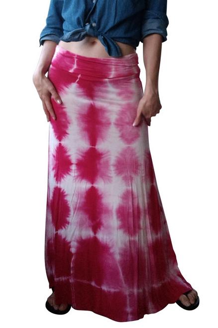 Classic Boho Maxi Skirt is 95% Rayon! Pink Tie Dye.
