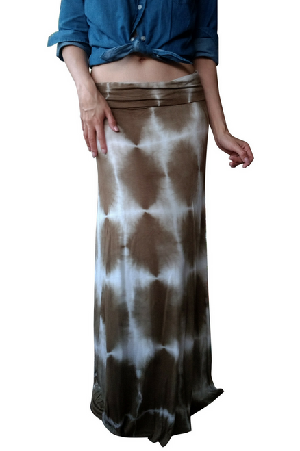 Classic Boho Maxi Skirt is 95% Rayon! Olive Green Tie Dye.