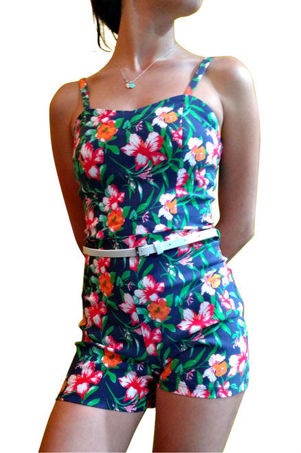 Navy Blue Floral Stretch Romper with Belt!