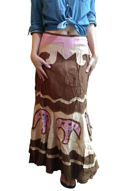 100% Cotton Boho Skirt with Beads & Pink Elephants! Brown.