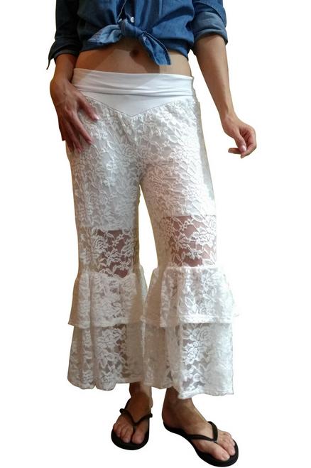 Boutique White Lace Harem Capris!