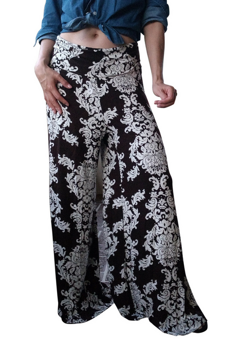 Boutique Flare Leg Palazzo Pants! Brown with White Paisley.
