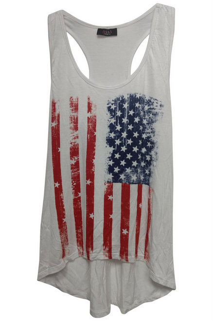 American Flag Tank Top with Racer Back! Red, White & Blue. USA! USA!