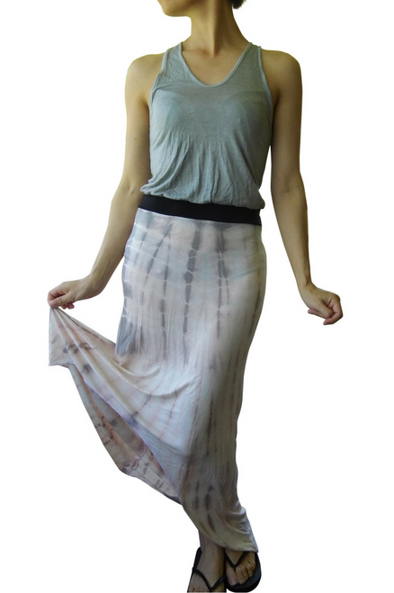 Tie Dye Maxi Dress Grey to Blush Ombre.
