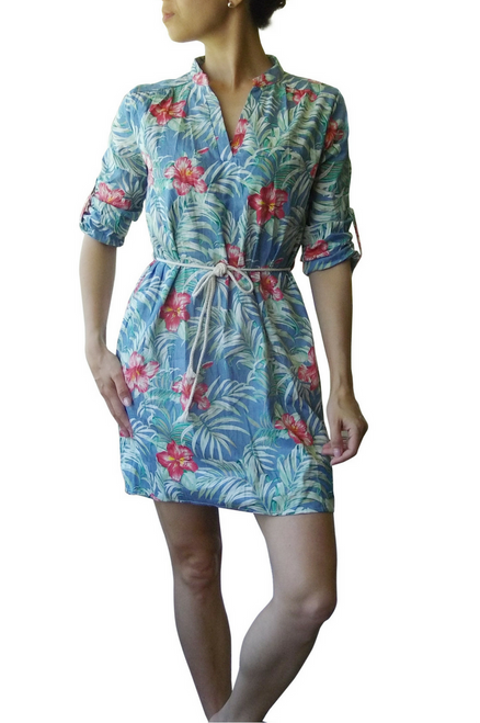 100% Cotton Floral Tunic with Rope Belt!