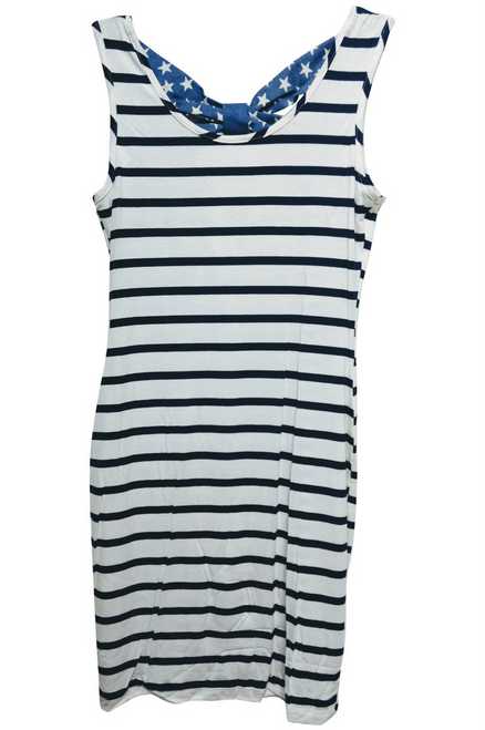 Patriotic Tank Dress with Bow in Back! USA!