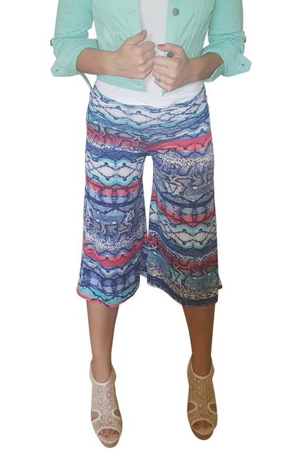 Blue Snake Print Flare Leg Harem Capris with Yoga Waist.