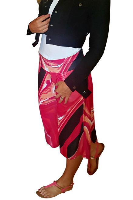 Black, White & Red Geo Print Flare Leg Harem Capris with Yoga Waist.