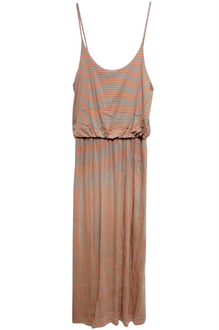 Long, Classic Spaghetti Maxi Dress! Peach & Orange Stripes.