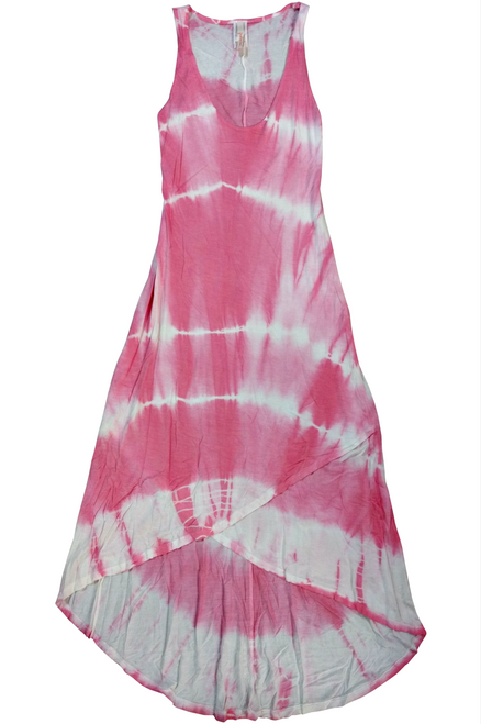 Boho Chic 100% Rayon Maxi Dress in Pink Tie Dye.