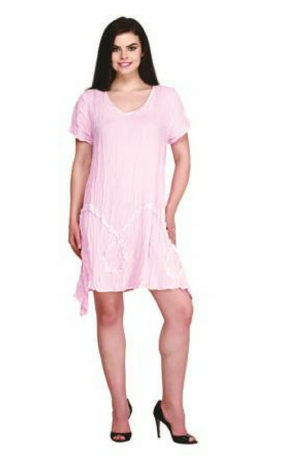 Boho Cotton Dress with Asymmetrical Cut. One Size Fits Most. Pink.