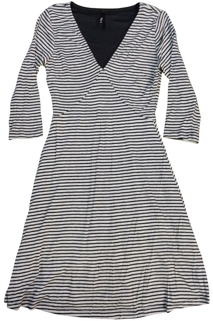 Stretch Skater Dress with Full Lining! Black/Grey Stripes.