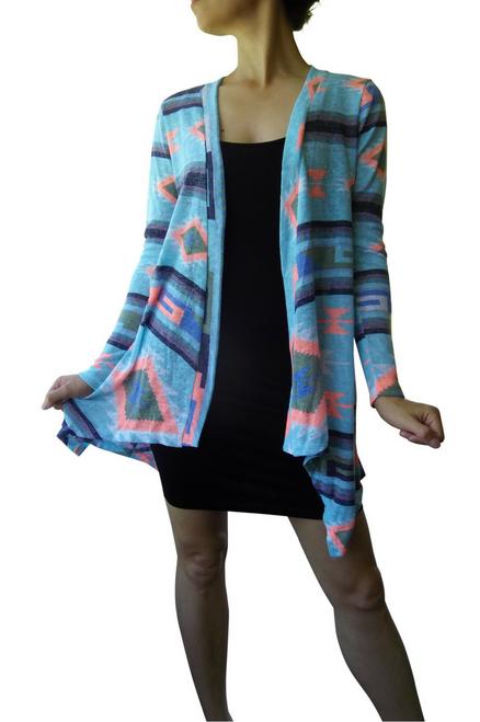 Summer Flyaway Cardigan in Blue/Coral Tribal Pattern.
